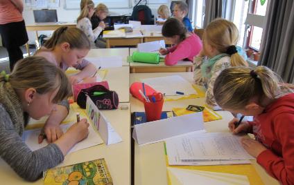 schoolschrijver klas verkleind